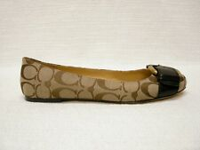 $168 NIB COACH SIGNATURE AMELIA KHAKI JACQUARD FLATS SHOES BUCKLE ACCENT 6 M