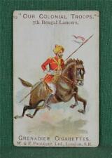 FAULKNER CIGARETTE CARD OUR COLONIAL TROOPS NO 82 7TH BENGAL LANCERS  (C109)