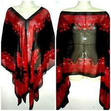 Black/Red Caftan Kaftan Tunic Dress Scarf Blouses Wing Beach Cover Up Swimwear