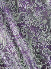 "PURPLE & SILVER PAISLEY METALLIC BROCADE FABRIC 60""W DRAPE SKIRT WASITCOST BTY"