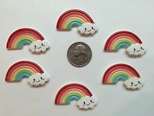 6 Pcs Lot Rainbow Flatback Resin Cabochon Hair Bow Center Supplies.