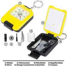 8-IN-1 COMPACT MAGNETIC SURVIVAL COMPASS W/ ACCESSORY TOOL STORAGE FIRE STARTER