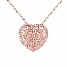 Rose Gold Tone Heart Pendant Necklace Set Simulated Stones Sterling 925 Silver