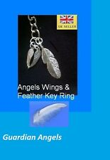 Feather Angel Wings Key Ring (Guardian Angels) Remembrance Memory  Organza Bag.