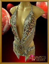 CHARISMATICO Two-tone silver sequin showgirl's o-ring dance leotard with beaded