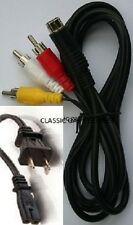 AC Power Cord + Stereo AV Audio Video RCA Composite Cable for Sega Saturn System