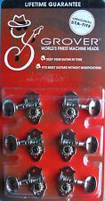 Genuine Grover Sta-Tite Horizontal Tuners, Nickel, H98N, Classic Round Button