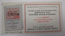 Vintage 1940's Johnson's Wax Electric Floor Polisher Ink Blotter  Kansas City MO