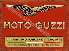 Vintage Garage Moto Guzzi, 121, Italian Motorcyles V-twin, Small Metal/Tin Sign