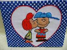 Vintage Peanuts Schultz Charlie Brown and Lucy Crewel Needlepoint