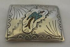 """unsigned Old Sterling """"Peyote Bird"""" Silver BELT BUCKLE Navajo Turquoise & Coral"""