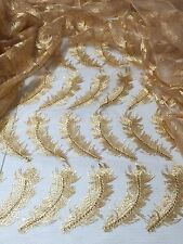 "GOLD MESH FEATHERS EMBROIDERY RHINESTONE  BEIDAL LACE FABRIC 50"" WiIDE 1 YARD"