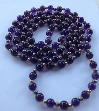 """Amethyst & Yellow Gold & Silver Rose Beads Long Necklace 26""""  Nice ! 136 Grams"""