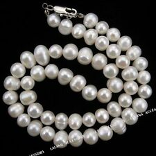 1string Hotsale White Round Freshwater Pearl Beads Necklace Lobster Clasp 43cm J
