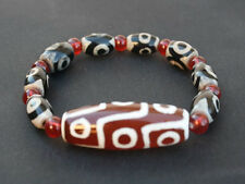 Tibetan 8 3-eye Big 9-eye Agate dZi Beads Beaded Bracelet -Powerful Energy!