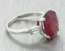 Vintage Estate Solid Platinum 5.60ct Red Oval Ruby .30ctw Baguette Diamond Ring