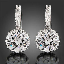 Real 18K White Gold plated Earrings Gp Swarovski Zircon Valentine Birthday Gift
