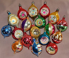 18 Vintage Mercury Glass Tear Drop Reflector Indent Christmas Ornaments Poland