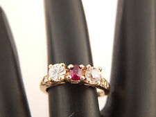 1.08 ART DECO 3 stone HANDMADE Diamond & Ruby Ring Euro Cut F/SI 14k Engagement