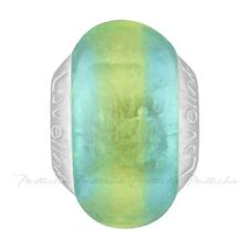 Lovelinks Bead Sterling Silver, Frosted Aqua With Lime Murano Glass Charm TM585