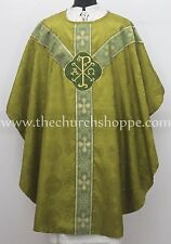 OLIVE GREEN clergy gothic vestment  & stole set,Gothic chasuble,casula,casel