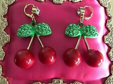 Betsey Johnson Vintage Picnic HUGE Red Lucite Cherry Cherries Crystal Earrings