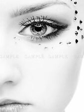 PHOTO COMPOSITION BLACK WHITE WOMAN FACE JEWEL EYE STARK CONTRAST PRINT BMP10315