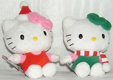 HELLO KITTY CHRISTMAS HOLIDAY PLUSH SET OF 2 FREE USA SHIPPING NWT