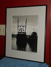 ORIGINAL SIGNED PHOTOGRAPHY BLACK & WHITE FISHING BOAT IN NEW ENGLAND HARBOR