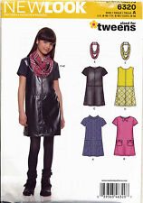 NEW LOOK SEWING PATTERN 6320 GIRLS/TEENS/TWEENS SZ 8-16 PINAFORE, DRESS & SCARF