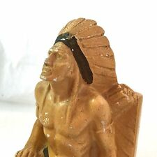 2 Plaster Native American Indian Bookends Figural Chief Kneeling Headdress Heavy