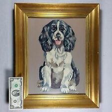 Large Vintage Cavalier King Charles Spaniel Hunting Lab Dog: Framed Needlepoint