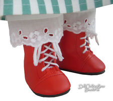 "Red 1800 Steeple Boots works for 18"" American Girl Kirsten Doll Clothes"