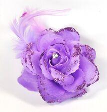 Blume Lila ROSE Haarclip Haarklammer Glitzer Federn Haarschmuck Feder Strass