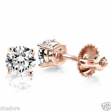 0.60 Ct Round Earrings Studs Solid 14K Rose Gold Brilliant Screw Back Basket