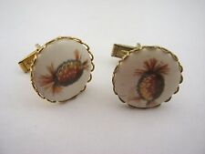 Vintage Cufflinks Jewelry: Ceramic Pineapple Design