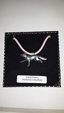 A3 Running Fox Motif Pewter  PENDENT ON A PINK CORD Necklace Handmade
