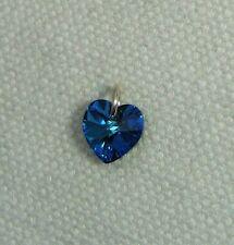 Con elemento de cristal de Swarovski del encanto del corazón en plata jumpring-burmuda Azul