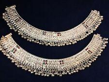 Beautiful Indian Bollywood Bridal  Silver Plated Anklet Meenakari Jhanjar,Payal
