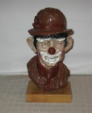 "Vintage Austin Prod. Inc 13 1/2"" Clown Sculpture on Wood Base 1964 FREE SHIPPING"