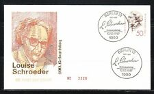 Germany Berlin 1987 FDC cover Mi 779 Sc 9N538 Louise Schroeder,politician