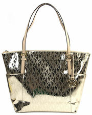 Michael Kors Jet Set Tote Handbag Pale Gold Mirror NEW With Tag FREE SHIP