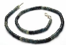 """Super Fine Quality Natural Gem Blue Sapphire Faceted Heishi Beads Necklace 16"""""""