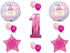GIRL'S FIRST 1ST BIRTHDAY PARTY BALLOONS Decorations Supplies stars 13pcs. PINK
