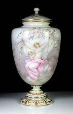 ANTIQUE LARGE BACCARAT OPALINE GLASS VASE & COVER VENUS & CUPID SIGNED REY