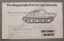 Publicité MATCHBOX Military kits Jagdpanther tank   1976  advert