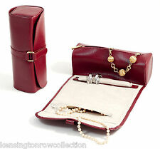 "LADIES ACCESSORIES - ""MAYFAIR"" RED LEATHER JEWELRY ROLL"