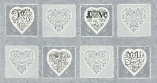 """MODA Fabric Quilt Panel ~ EVER AFTER ~ by Deb Strain (19740 12) Grey 24"""" X 45"""""""
