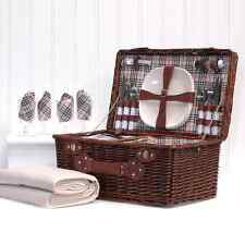 Bromley Picnic Basket & Cream Fleece | 4 Person Chiller Hamper | Wedding Gifts