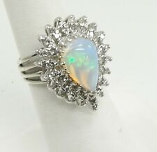 14K White Gold Opal Diamond Halo Ring Pear Teardrop Shape Prong Set Size 6
